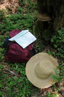 sac, carte et chapeau de paille